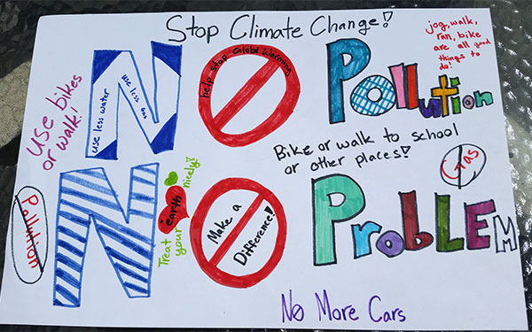 Stop climate change poster created by a student