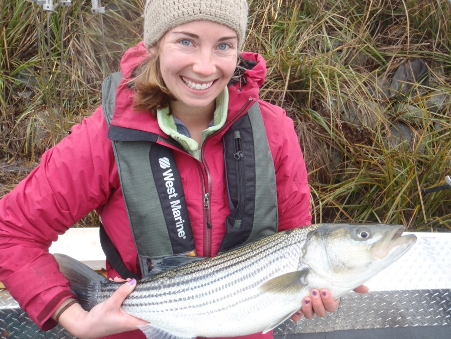 Meg with striped bass