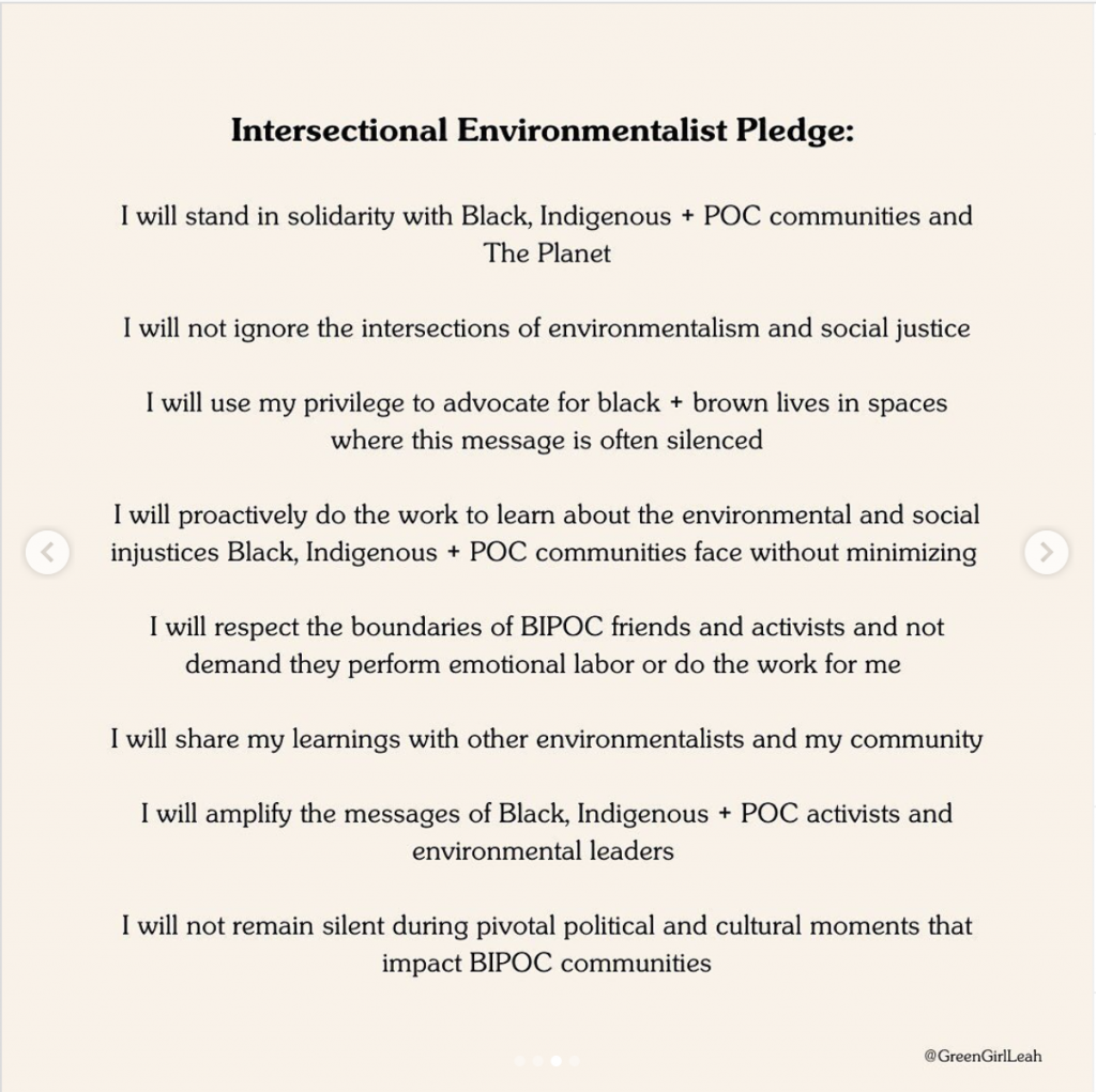 Intersectional Environmentalist Pledge